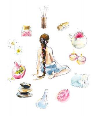 Sticker Set for SPA salon. Watercolor hand drawn illustration.
