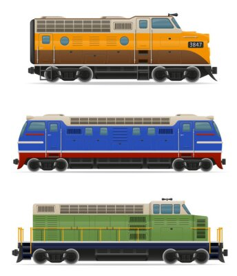 Sticker set icons railway locomotive train vector illustration