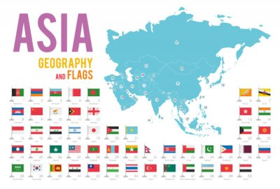 Sticker Set of 50 flags of Asia isolated on white background and map of Asia with countries situated on it.