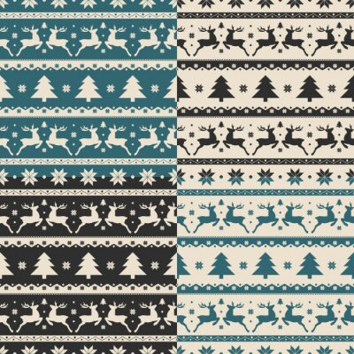 Sticker Set of Christmas and New year seamless patterns