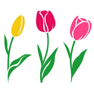 Sticker Set of colorful tulip silhouette. Vector illustration. Collection of decorative flowers