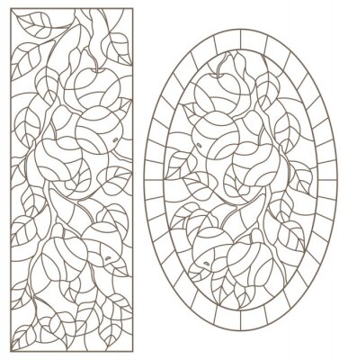 Sticker Set of contour illustrations of stained glass Windows with tree branches, Apple tree branch, dark contours on white background,rectangular and oval images