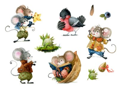 Sticker Set of cute christmas mice in cartoon style. Watercolor christmas illustration