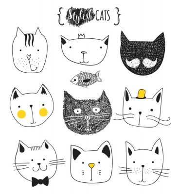Sticker Set of cute doodle cats . Sketch cat . Cat Sketch . Cat handmade . Print T-shirts for the cat . Print for clothes . Kids Doodle animals . Stylish muzzle cats . Isolated cat. Pet