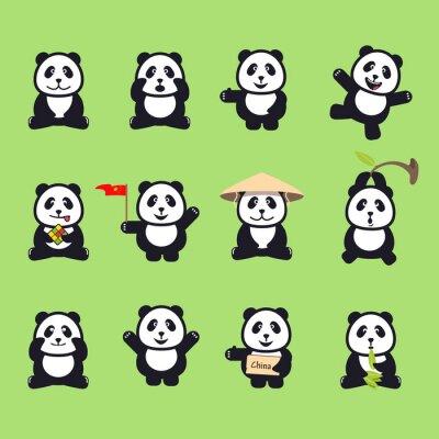 Sticker set of cute funny cartoon pandas. Vector illustration