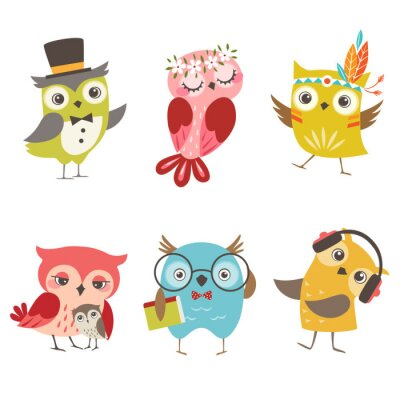 Sticker Set of cute owls isolated on white background