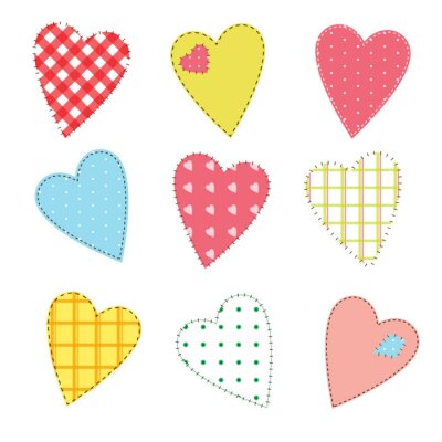 Sticker Set of cute stitched hearts with seamless patterns