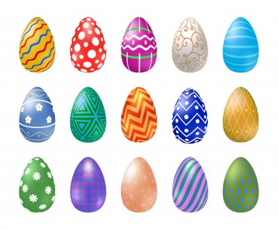 Set of Easter eggs with different texture on a white background. Happy easter eggs. Spring holiday. Vector Illustration, EPS 10.