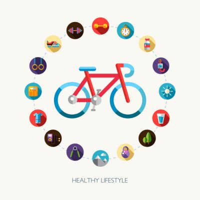 Sticker Set of flat design sport, fitness and healthy lifestyle icons