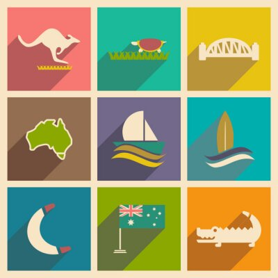 Sticker Set of flat icons with long shadow Australian