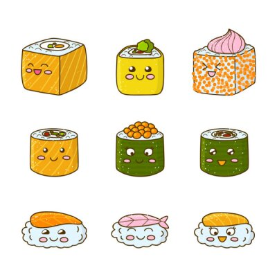 Sticker Set of funny sushi and rolls