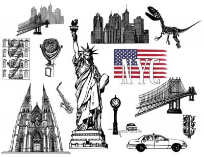 Sticker Set of hand drawn sketch style New York themed isolated objects. Vector illustration.
