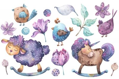 Sticker Set of hand painted watercolor illustrations cartoon style with cute sheep, horse, birds, flowers, leaves and brunches in purple, violet, aqua and yellow colors