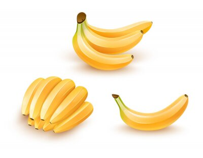 Sticker Set of isolated banana fruits. Eps10 illustration.