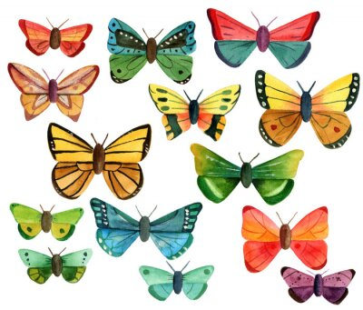Sticker Set of many different watercolor butterflies on white background