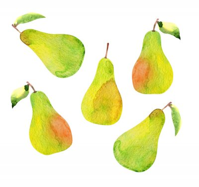 Sticker set of pears isolated, watercolor