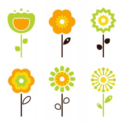 Sticker Set of retro flower elements for easter / spring
