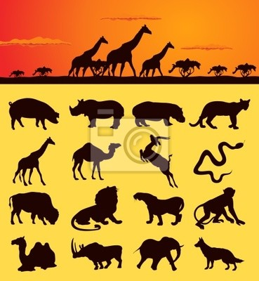 Set of silhouettes of animals from africa