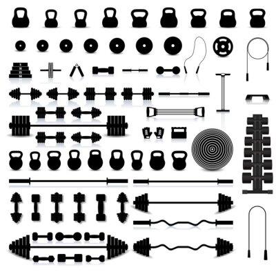 Sticker Set of sports equipment, vector illustration.