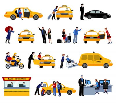Sticker Set Of Taxi Service Icons