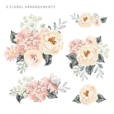 Sticker Set of the floral arrangements. Pale pink peonies and hydrangea with gray leaves. Watercolor vector romantic garden flowers.