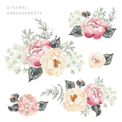 Sticker Set of the floral arrangements. Pink peony bouquets with gray leaves. Watercolor vector illustration. Romantic garden flowers.
