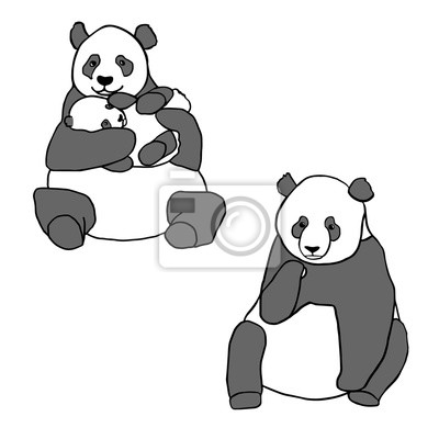 Sticker Set of two cute pandas and cub. Hand drawn vector illustrations isolated on white. Cute mother panda with little baby and sitting panda