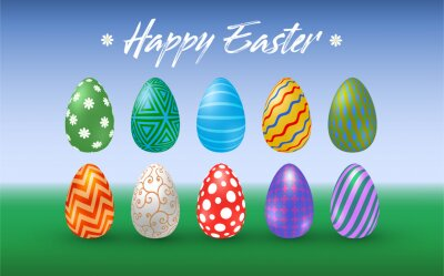 Set of various Easter eggs with different texture on a nature background. Happy easter eggs. Spring holiday. Vector Illustration, EPS 10.