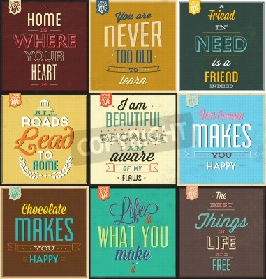 Sticker Set Of Vintage Typographic Backgrounds - Motivational Quotes - Retro Colors With Calligraphic Elements