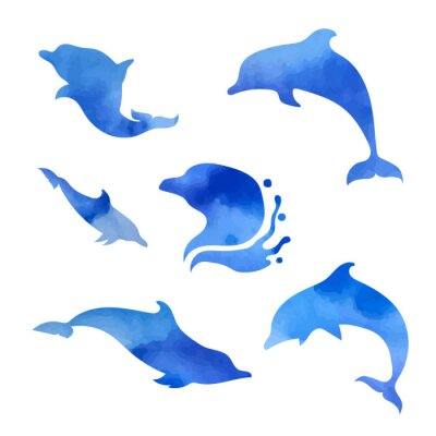 Sticker Set of watercolor dolphins