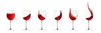 Sticker set of wine glasses with splashes of wine isolated on white back