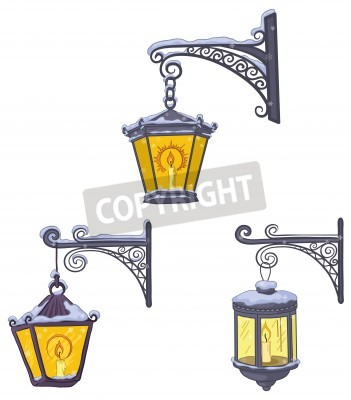 Sticker Set vintage street luminescent lanterns covered with snow, hanging on a decorative brackets. Vector