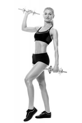 Sticker Sexy and fit woman lifting hand weights