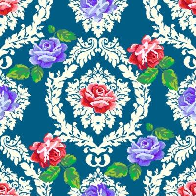 Sticker Shabby chic rose damask pattern. Vector seamless vintage floral background