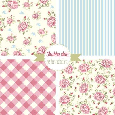 Sticker Shabby Chic Rose Patterns. Set seamless pattern. Vintage floral pattern, backgrounds. Vector illustration