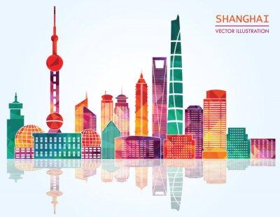 Sticker Shanghai detailed skylines. vector illustration