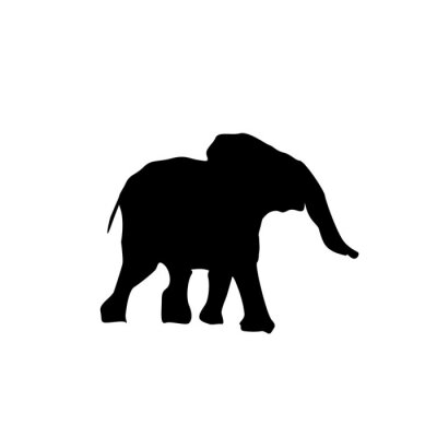 Sticker silhouette baby elephant