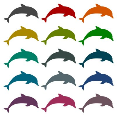 Sticker Silhouette dolphin icons set