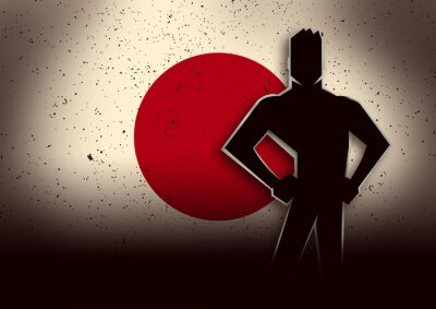 Sticker Silhouette Illustration of a Man Standing in Front of Japan Flag