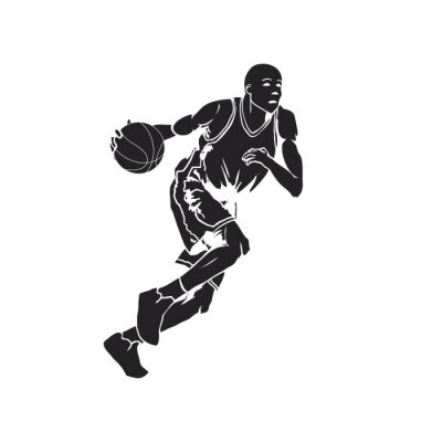 Sticker Silhouette of a basketball player dribbling the ball