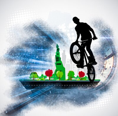 Sticker Silhouette of a bicycle rider
