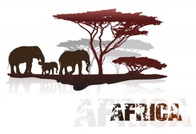 Sticker Silhouette of Africa trees and elephants
