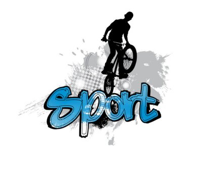 Sticker Silhouette of bicycle jumper