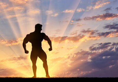 Sticker Silhouette of bodybuilder poses at sunset