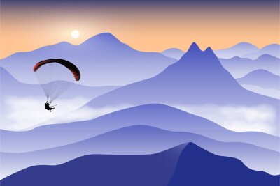Silhouette of flying paraglider take a selfie with action camera above the high mountains at sunrise. Vector illustration, EPS 10.