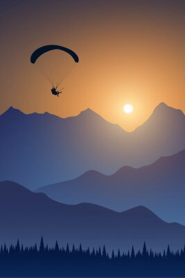 Silhouette of flying paraglider take a selfie with action camera above the high mountains in a light of sunrise. Vector illustration, EPS 10.