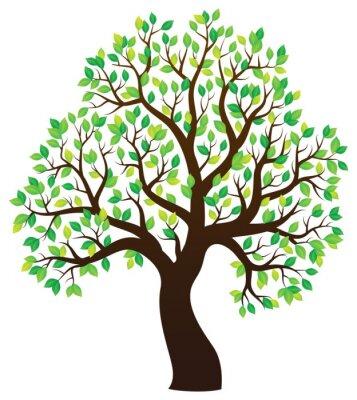 Sticker Silhouette of leafy tree theme 1