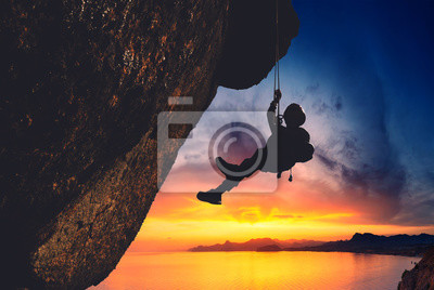 Sticker Silhouette of rock climber