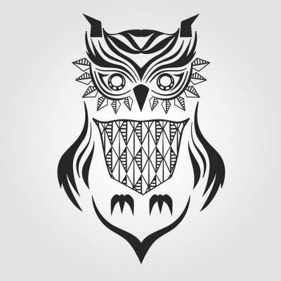 Sticker silhouette owl. graphic design. vector illustration.
