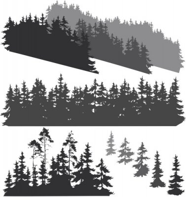 Sticker silhouettes of the forest